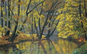 Картинка осень, пейзаж, природа, река, картина, Антонин Гудечек, The Bela Stream in Autumn, Antonin Hudecek