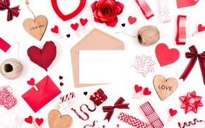 Обои red, Valentine's Day, романтика, сердечки, hearts, любовь, gift, romantic, love, decoration