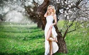 Картинка девушка, букет, весна, лепестки, платье, причёска, ножка, цветение