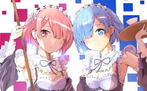 Картинка девочки, аниме, арт, Рем, Рам, Re Zero Kara Hajimeru Isekai Seikatsu