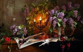 Картинка скрипка, часы, свечи, натюрморт, сирень