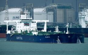 Обои корабль, терминал, газовоз, порт