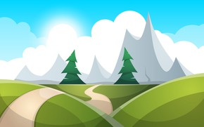 Картинка Горы, Рисунок, Тропинка, Деревья, Лес, Рендеринг