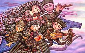Картинка дети, музыка, конь, семья, Счастье, Севада Григорян