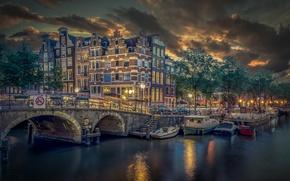 Картинка мост, здания, лодки, причал, Амстердам, канал, Нидерланды, Amsterdam, Netherlands, Brouwersgracht, Канал Броуверсграхт