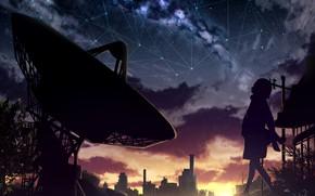 Картинка небо, девушка, закат, город, электронный телескоп