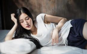 Картинка девушка, лицо, лежит