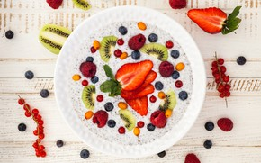 Картинка ягоды, малина, завтрак, киви, черника, клубника, фрукты, berries, breakfast, каша, healthy