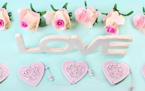 Картинка heart, love, roses, wood, pastel, pink, romantic, розы, сердечки, petals, flowers, розовые розы
