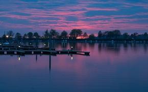 Картинка облака, лодки, Германия, причал, Бавария, зарево, Баденское озеро, Линдау
