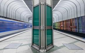 Картинка метро, станция, Германия, Мюнхен, перрон, опора
