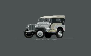 Картинка Авто, Минимализм, Рисунок, Машина, Джип, Арт, Внедорожник, 1944, Jeep, Willys, NAVY2, Nik Schulz, 95073, 1944 …