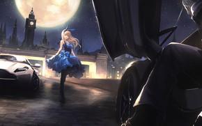 Обои луна, ночь, город, аниме, девушка