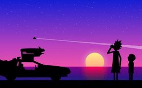 Обои закат, Морти, water, тень, полет, Morty, машина времени, Rick And Morty, путешествие, след, пьет, space, ...