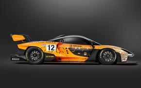 Картинка Concept, McLaren, GTR, гоночное авто, вид сбоку, 2018, Senna