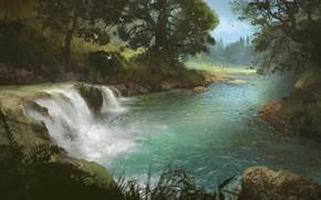 Картинка водопад, Stream, река, лес