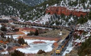 Картинка природа, поезд, железная дорога