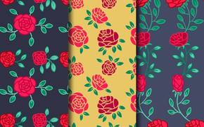 Картинка фон, розы, текстура, красные, patterns, Vintage, roses