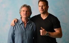 Обои Курт Рассел, Крис Прэтт, Стражи Галактики. Часть 2, Chris Pratt, фотосессия, Guardians of the Galaxy ...