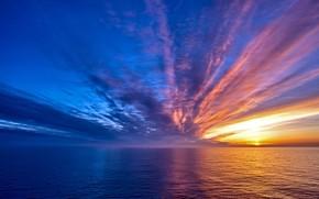 Картинка twilight, sky, sea, landscape, nature, water, clouds, sun, Sunrise