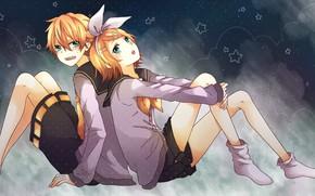 Картинка девушка, фон, звёздочки, парень, двое, Vocaloid, Вокалоид, Кагомине Лен, Кагомине Рин