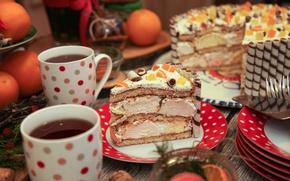 Картинка чай, чашки, торт, крем, цукаты