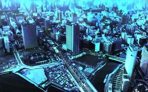 Картинка город, рисунок, вид сверху