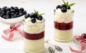 Обои cream, milk, желе, сливки, десерт, черника, sweet, mousse