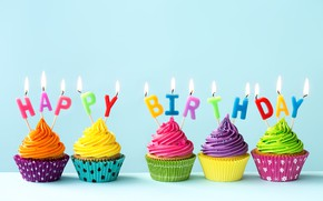 Обои свечи, colorful, rainbow, cake, крем, Happy Birthday, colours, cupcake, celebration, кексы, cream, decoration, candle, День ...