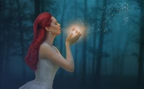 Обои лес, бабочки, девушка, волшебство, настроение