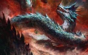 Картинка fantasy, Dragon, snake, digital art, artwork, fantasy art, creature