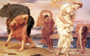 Картинка море, женщины, пляж, античность, Frederic Leighton, Greek Girls Picking up Pebbles, гречанки