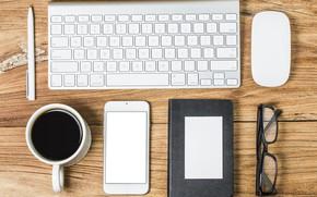 Картинка Кофе, очки, Клавиатура, Телефон, Блокнот, Мышь