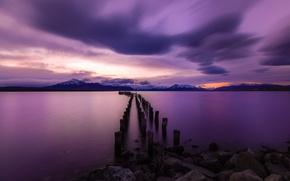 Картинка закат, Чили, Torres del Paine National Park, Old Pier, Peurto Natales