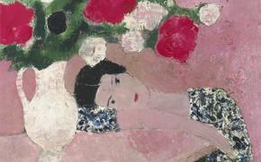 Картинка девушка, букет, картина, Пионы, Andre Brasilier