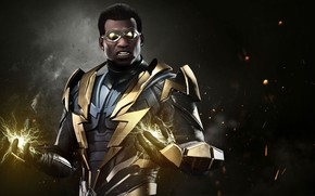 Обои lightning, uniform, Black Lightning, Injustice 2, DC, spark, hero, DC Comics, super hero, suit, game