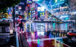 Картинка мокро, свет, город, огни, люди, дождь, улица, зонт, Япония, зонты, боке