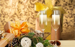 Картинка елка, Новый Год, бокалы, Рождество, new year, happy, gift, decoration, champagne