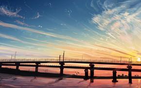 Картинка вода, закат, мост, природа