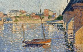 Картинка мост, лодка, картина, городской пейзаж, Поль Синьяк, пуантилизм, Аньер