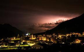 Обои облака, долина, фонари, ночь, Wetterleuchten, огни, Gluringen, деревья, дома, горы, небо, Швейцария