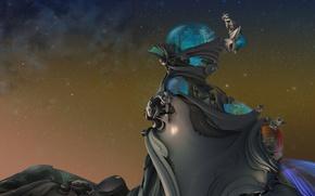 Картинка небо, нечто, сооружение, звёзды, купол, statuesque