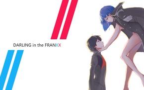 Обои demon, girl, devil, anime, pretty, Ichigo, strong, sugoi, Hiro, anime girl, Darling in the FranXX, ...