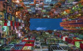 Картинка небо, свет, город, огни, вверх, дома, Китай, КНР