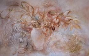 Обои цветы, картина, ваза, Натюрморт, Сфумато, сувенирная живопись, Петренко Светлана, розово серый фон