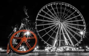 Картинка велосипед, Франция, Париж, площадь, колесо обозрения, Paris, монохром, France, Площадь Согласия, Place de la Concorde