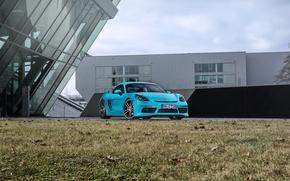 Картинка голубой, Porsche, Cayman, кабриолет, автомобиль, порше, турбо, TechArt, 718