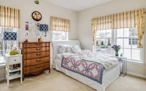 Картинка кровать, постель, спальня, комод