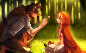 Обои красная шапочка, арт, парень, Big Bad Wolf, романтика, волк, цветок, Red Riding Hood, девушка