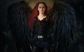 Картинка взгляд, девушка, крылья